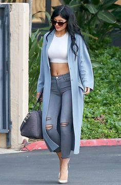 Kylie Jenner Look In Blue Grey coat