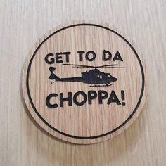 Laser cut wooden coaster. Predator Dutch chopper quote
