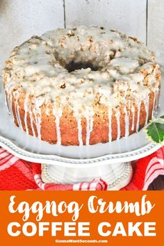 My Eggnog Crumb Coffee Cake is a wonderful holiday treat with a unique nutmeg icing. Perfect with a coffee at a December breakfast or brunch! The post Eggnog Crumb Coffee Cake-With An Eggnog Glaze appeared first on Daisy Dessert. Christmas Desserts, Christmas Treats, Christmas Baking, Christmas Holidays, Christmas Morning, Christmas Candy, Easy Desserts, Delicious Desserts, Dessert Recipes