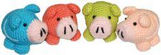 Chanchitos tejidos en crochet (amigurumi). Son pequeños y lindos... los podrás tejer rápidamente!