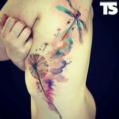 Watercolor Dandelion Tattoos - 45 Dandelion Tattoo Designs for Women Watercolor Dandelion Tattoo, Dandelion Tattoo Design, Watercolour Tattoos, Painting Tattoo, Dandelion Tattoos, Watercolor Paintings, Watercolors, Tattoo Abstract, Tattoo Aquarelle