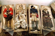 """Mummies in Germany More than 1000 mummies are currently stored in German churches - and many of these bodies are surrounded by their very own mysteries. According to one legend, Caroline Louise von Schönberg (see uppermost picture) had to be tied to her coffin because was still alive during her own burial and began knocking onto the lid. In order to avoid further """"disturbances"""", Caroline's children, who had already divided up the inheritance, tied her up and had her buried alive."""