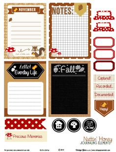 Free printable fall themed pdf download with journaling cards and elements for your project life layout and other types of pocket scrapbooking.