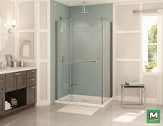 Add sophisticated style to your bathroom with a MAAX® 48'' Reveal Corner Shower Kit. It not only includes a two-panel pivot 8mm glass shower door, but it also features unique MAAX® patent hinges and a matching towel bar. Affixed with a glass side panel and acrylic shower base, this shower setup will elevate your bathroom for many years.