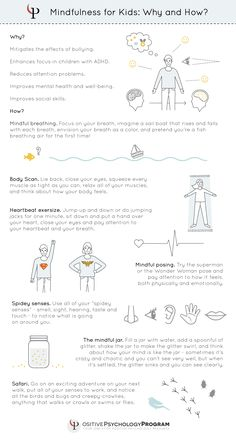 mindfulness for kids, why and how infographic