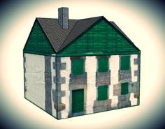 Large Cottage In Green Paper Model - by Edifícios De Papel - == -  This is the Large Cottage In Green, more one nice paper model created by Spanish designers Mónica and Anibal, from Edifícios de Papel website. This model is available in 6 different scales: 1/56 scale(28mm), 1/72 scale, HO scale (1/87), 1/100 scale (15mm), N scale (1/160) and Z scale (1/220). Perfect for Dioramas, RPG and Wargames.