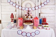 Sailboat boy birthday party dessert table!  See more party ideas at CatchMyParty.com!