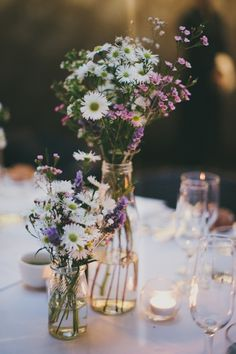 Table decoration, boho wedding, field and meadow flowers, small vases, wedding wedding decor decor ideas Wedding Centerpieces, Wedding Decorations, Table Decorations, Wildflower Centerpieces, Centerpiece Ideas, Bottle Centerpieces, Elegant Centerpieces, Garden Decorations, Meadow Flowers