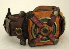 091 Steampunk Industrial Boho Bracelet Recycled by ShabbyLuxury, $36.63