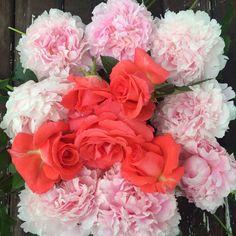 Peony and rose wreath