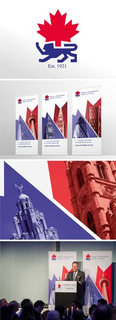 Canada-UK Chamber of Commerce - Graphic Design of pull-up roller banner for conference use - twinning iconic buildings from both Canada and the UK. Chamber Of Commerce, Case Study, Conference, Buildings, Banner, Canada, Graphic Design, Creative, Projects