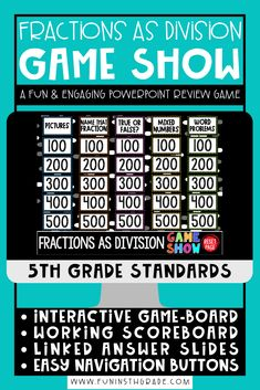 Your students will practice interpreting fractions as division with this fun and engaging PowerPoint game show!  Your students will love learning and reviewing improper fractions to mixed fractions, word problems in which students must determine if the remainder is correct and more.  This game show features an interactive game board, working scoreboard and more!