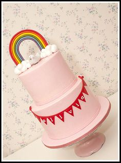 Rainbow Baby Shower Cake by tortacouture
