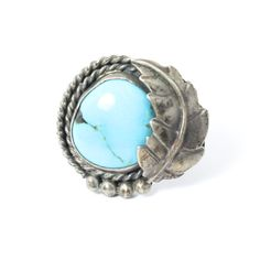 Huge Women's Turquoise and Sterling Silver Ring with Large Southwestern Gemstone and Bright Sterling Silver Leaf // Size: 6.5