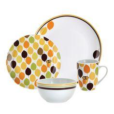 Rachael Ray 16-Piece Little Hoot Porcelain Dinnerware Set