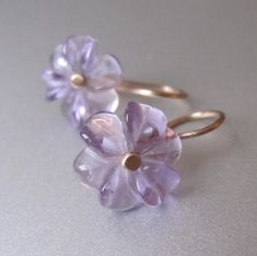 Carved Amethyst Flowers Solid 14k Gold Earrings by jenco8 on Etsy