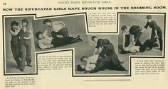 """A shift occurred at the end of the century, however, from dress reform (in particular, women in pants) as a question of politics or health, to cross-dressing as an expression of sexuality. In this 1903 Vanity Fair spread, the photos and text present a titillating view of two """"bifurcated girls"""" (women in pants) playfully wrestling. Note that the women are not wearing even the looser-fitting bicycle or exercise style pants of the day, but rather are dressed in men's-style trousers and vests."""