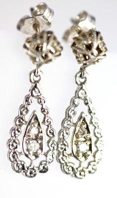Vintage 14k White Gold Filigree & Genuine Diamond Pierced Post Earrings