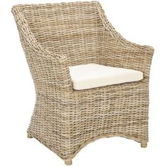 Safavieh Mollie Arm Chair in Brown / White Washed - FOX6505A