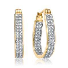 Collette Z Gold Plated Cubic Zirconia Pave Hoop Earrings