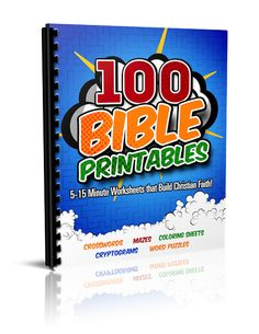 Printable Bible Worksheets for Kids 4-12: Mazes, Coloring Sheets, Crosswords, Cryptograms, and Word Searches