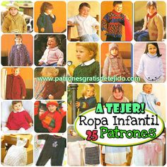 ropa de niños para tejer Baby Knitting Patterns, Knitting For Kids, Crochet Baby, Clothes, Ideas, Gifs, Templates, Beanies, Knitting Patterns Baby