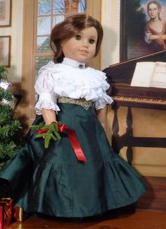18 1800/'s Doll Gigot Sleeve DressDoll Holiday-Christmas Dress Handmade to Fit American Girls  Marie Grace Addy Etc. Cecile