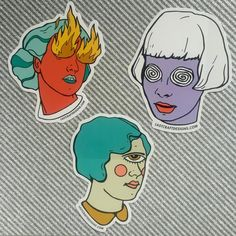 A sticker pack with the Witch Sisters. One each of Spiral Eyes Girl, Cyclops Girl and Fire Eyes Girl. Each is a die-cut vinyl sticker with UV coating. Perfect for your laptop or phone! Traditional Tattoo Old School, Trippy Painting, Minimalist Drawing, Cute Stickers, Dope Art, Psychedelic Art, Ink Art, Art Inspo, Witch
