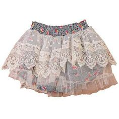 Paper Wings Girls - Floral Stripe Lace Skirt