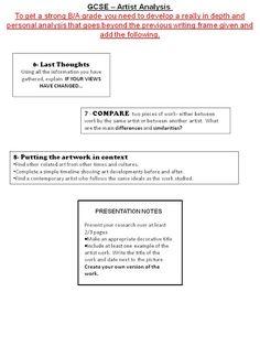 Visual Art GCSE Blog: Artist Analysis Writing Frame