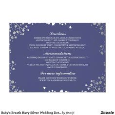 Baby's Breath Navy Silver Wedding Details