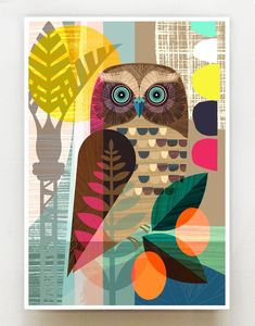 Art And Illustration, Illustrations, Owl Art, Bird Art, Photo Images, Collage Art, Art Lessons, Art Projects, Street Art