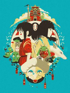 Art inspiré par le Studio Ghibli Spirited Away ! Limpression est 12 x 18 et signé.                                                                                                                                                                                 Plus