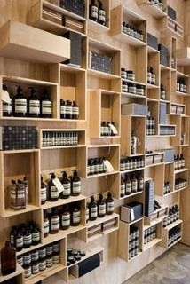 Interview - Clare Cousins - The Design Files Shop Shelving, Retail Shelving, Wall Shelving, Clare Cousins, Aesop Store, Bibliotheque Design, Wine Display, Display Wall, Display Boxes