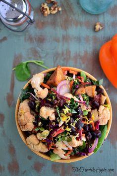 Roasted Cauliflower and Black Bean Buddha Bowl with Basil Lemon Dressing {Gluten-Free, Dairy-Free, Soy-Free, Vegan}