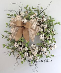 Primitive Cotton Wreath, Cotton Boll Wreath, Raw Cotton Bolls, Anniversary Gift, Southern Decor, Everyday Wreaths, Burlap Bow, Country Decor