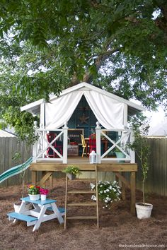 simple and awesome diy play fort. with links to step by step directions and materails list.