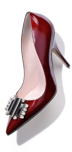 Who doesn't need ruby slippers? Toto, I don't think we are in Kansas anymore!Shiny ruby red Kate Spade pumps with the most gorgeous embellishments. Stilettos, Women's Pumps, Red Pumps, Zapatos Shoes, Shoes Heels, High Heels, Red Shoes, Me Too Shoes, Mode Chanel