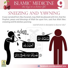 "Sneezing and Yawning Ibn Hajar, may Allah have Mercy on him, said that Al-Khattabi said, ""What is meant by liking and disliking here refers to the causes, because sneezing is due to energy in the body, opening the pores and not eating too much, unlike yawning which is due to filling the body and making it heavy, which stems from eating too much and mixing different types of food. T #DarussalamPublishers #IslamicMedicine #IslamicEBooks #AmazonKindle #KindleStore #BarnesAndNoble"