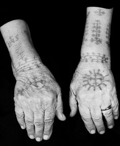Croatian Catholic tattoos during the rule of the Ottomans Hand Tattoos, Girl Tattoos, Tattoos For Women, Sleeve Tattoos, Tatoos, Tattooed Women, Slavic Tattoo, Occult Tattoo, Wicca