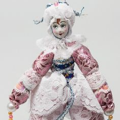 White Pink Collectible Doll Clown Hand Made in Russia Porcleain Face 6"