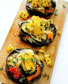 Portabellas to Die For <3 Cedar Plank grilled Portabella mushrooms grilled zuchinni  roasted peppers roasted corn olive oil your fav seasonings WOW!