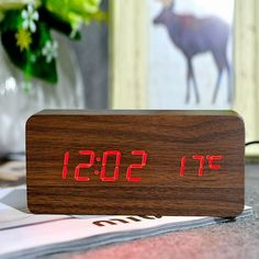 Alarm Clocks Glorious Wooden Led Temperature Control Electronic Clock Sound Control Digital Led Display Desktop Creative Wooden Table Clock Bringing More Convenience To The People In Their Daily Life