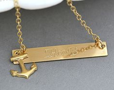 Gold Anchor Necklace Personalized, Anchor Initial Necklace, Gold Bar Necklace…