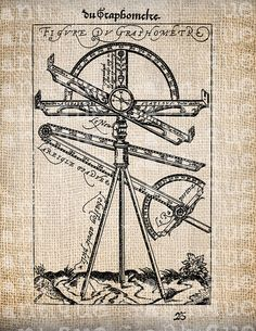 Antique French Graphometer Unusual Science Math Illustration Digital Download for Papercrafts, Transfer, Pillows, etc. Burlap No 2621. $1.00, via Etsy.