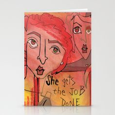 Corporate Redhead gets the job done Stationery Cards by Amy Chace - $12.00