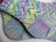 These socks were designed to work well with handpainted yarn, and will also produce waves with self striping yarn. They do not work well with fair isle self striping patterns.