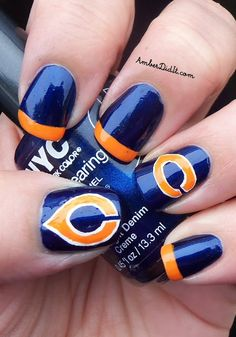 Perfect manicure for a Chicago Bears-themed party!