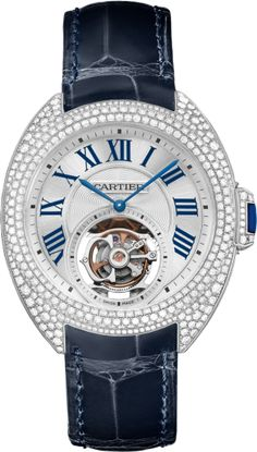 Clé de Cartier 35 mm flying tourbillon watch 35 mm, 9452 MC, rhodium-finish 18K white gold, diamonds, sapphire