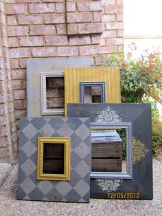 Items similar to Grouping of Four Distressed Picture Frames, Two Two on Etsy Distressed Picture Frames, Wood Picture Frames, Diy Crafts To Sell, Home Crafts, Decoupage, Pallet Frames, Gallery Wall Frames, Diy Frame, Diy Wood Projects